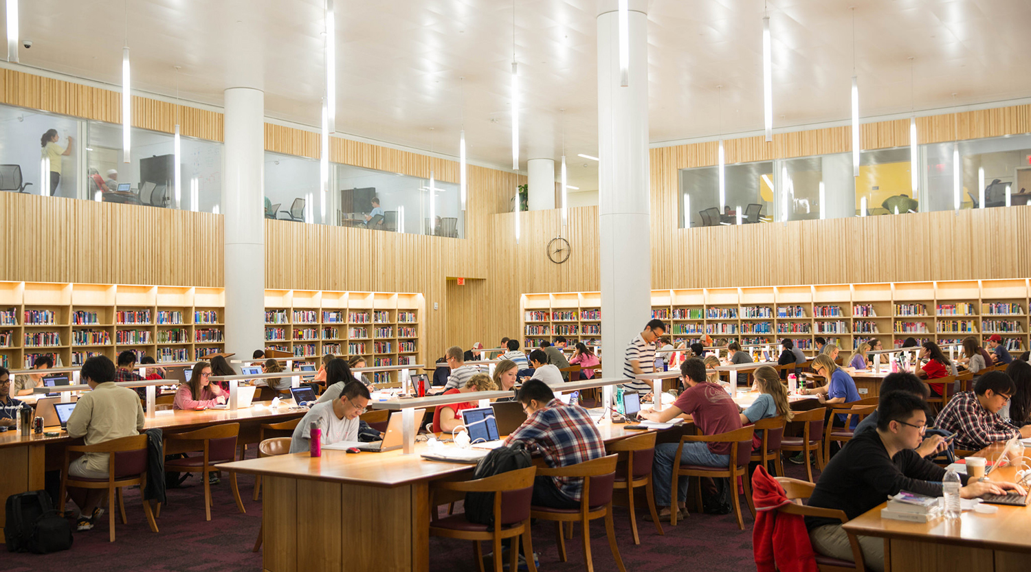 Students studying in the Hunt Library quiet room