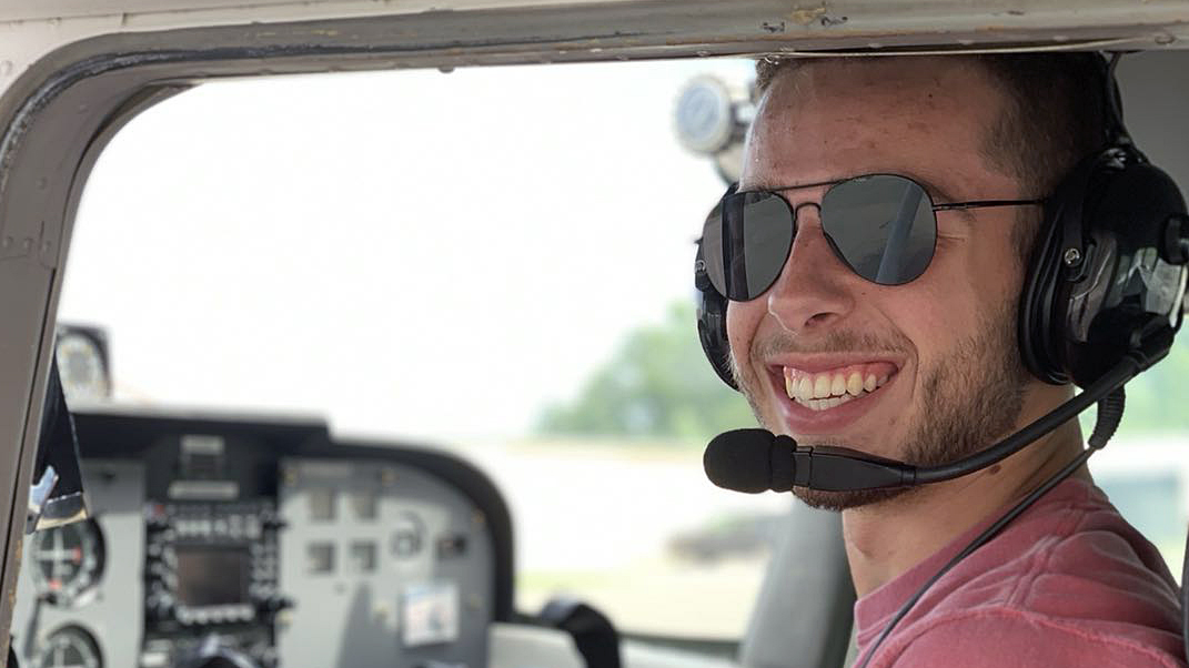 Andrew Berley learning to fly a small plane