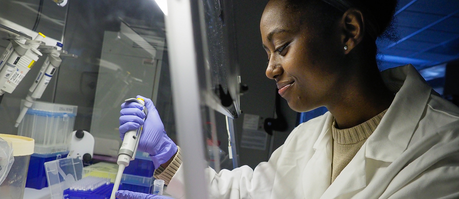 A graduate student works in the lab of Dr. Rob Smart on Centennial campus.