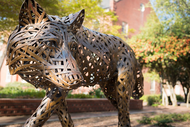 Copper wolf in Stafford Commons