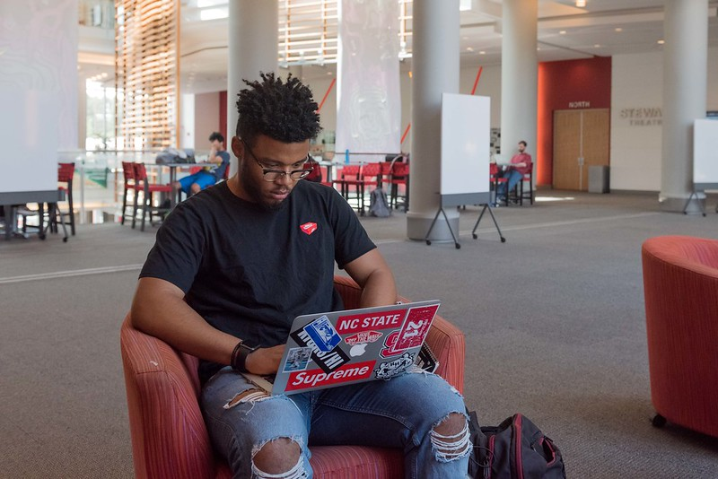 Student on laptop in Talley Student Union