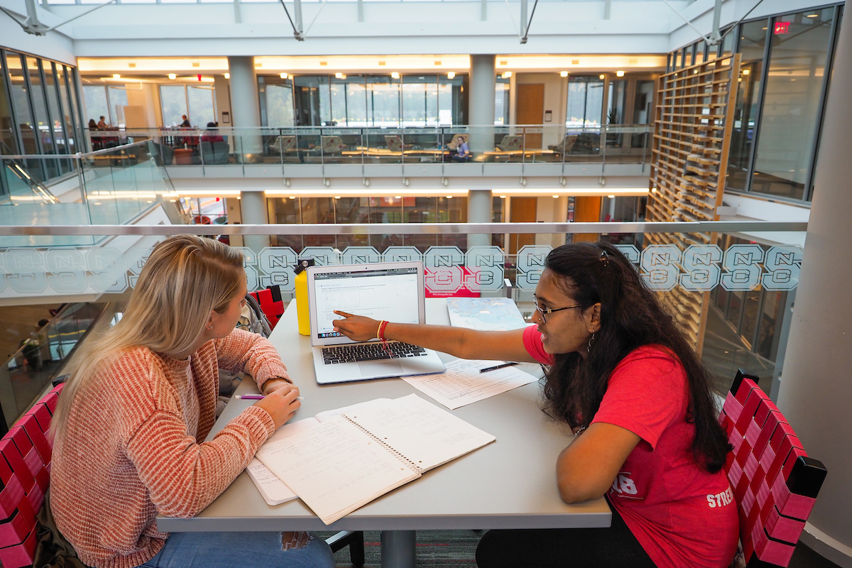 Students work, study and use the Talley Student Union.
