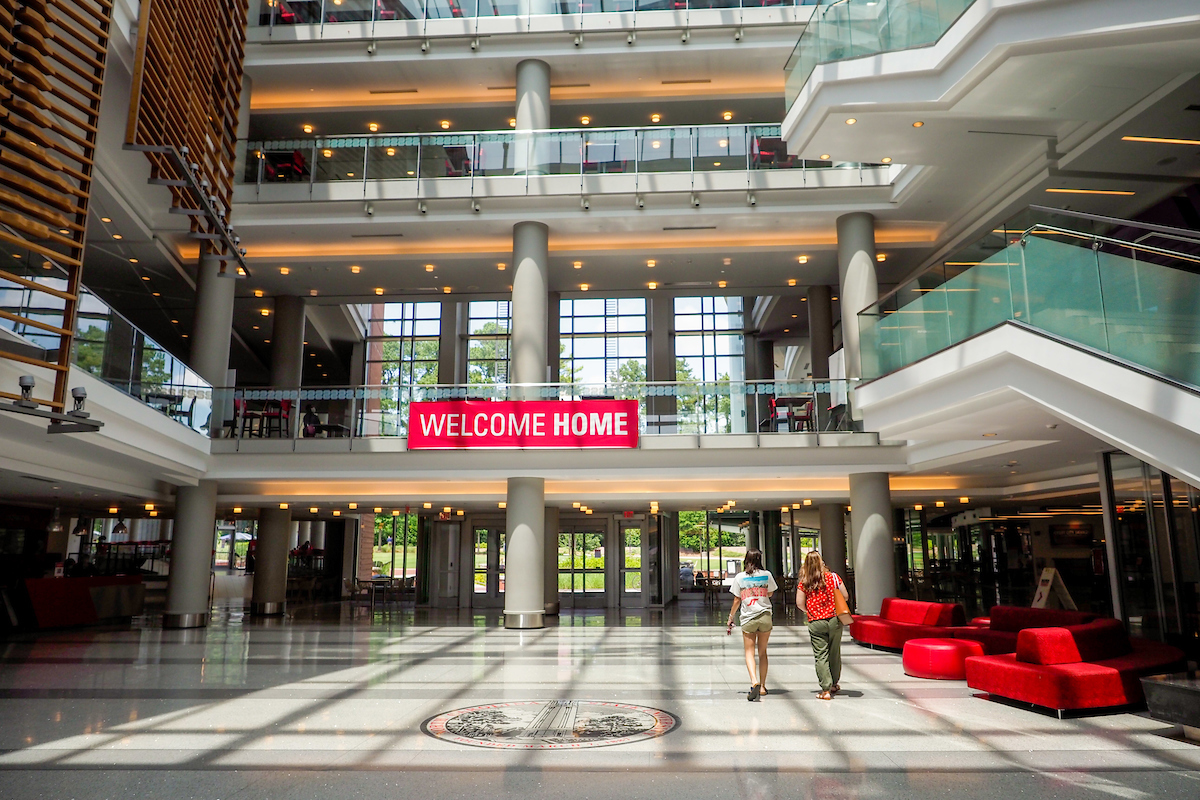 Summer visitors to the Talley Student Center are greeted with a Welcome Home sign.