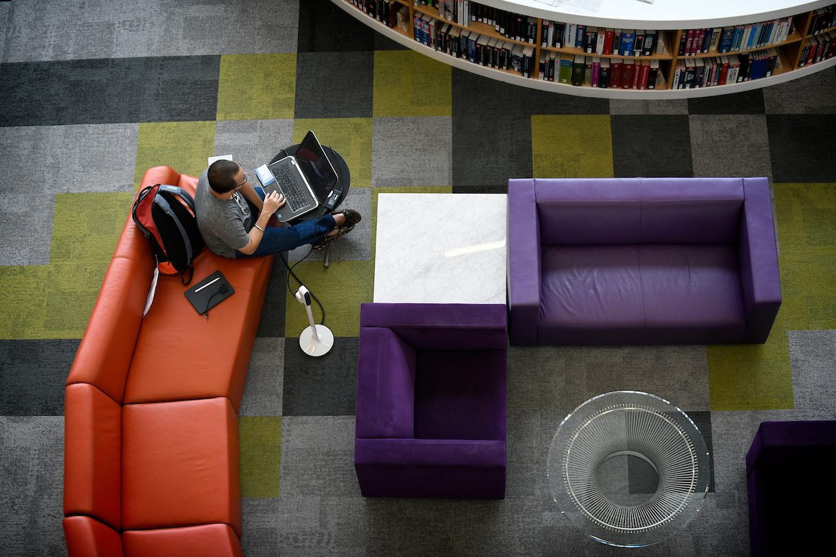 Students work and study in the Hunt Library