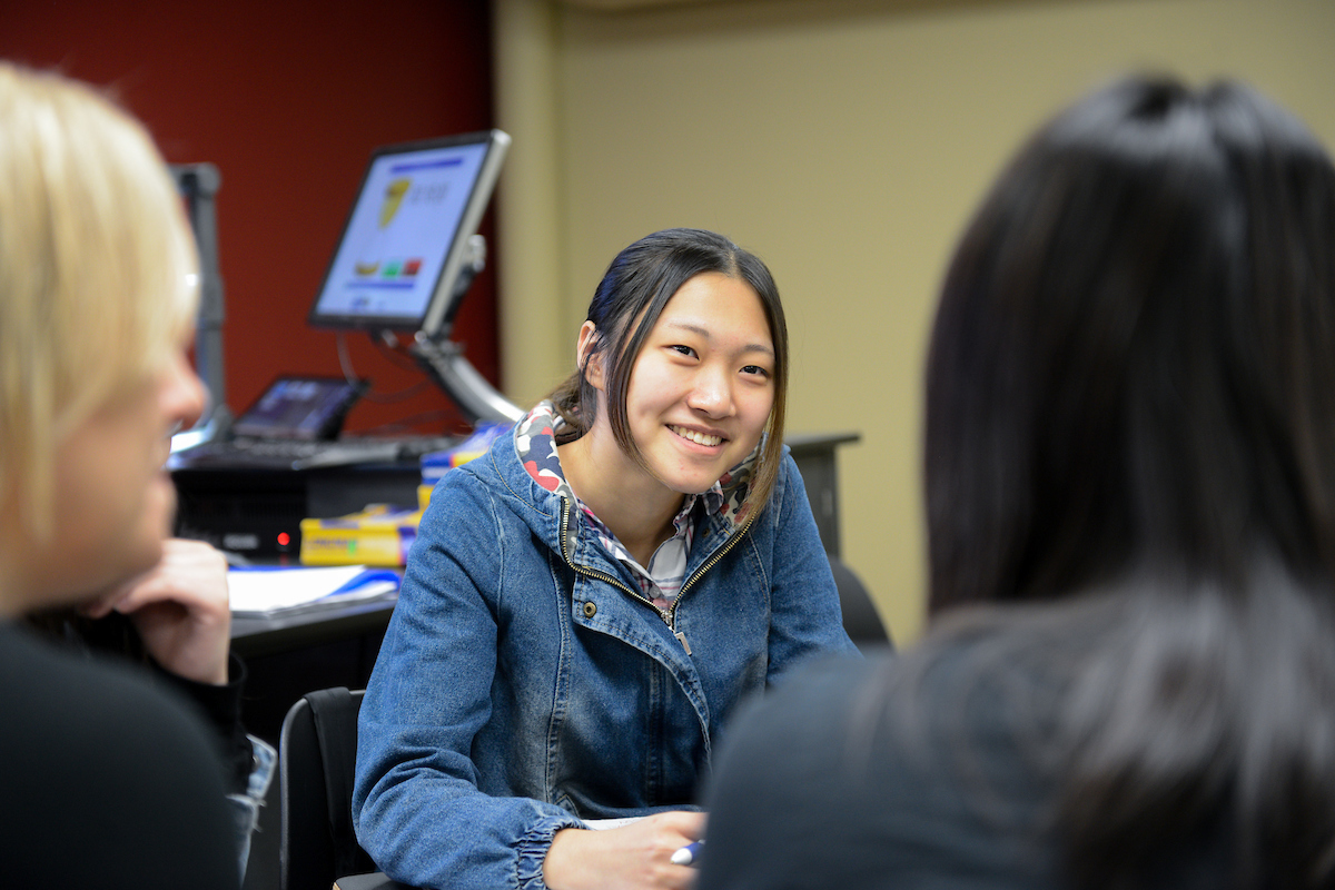 International students work in a classroom