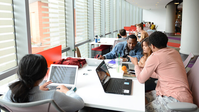 Students in Hill Library