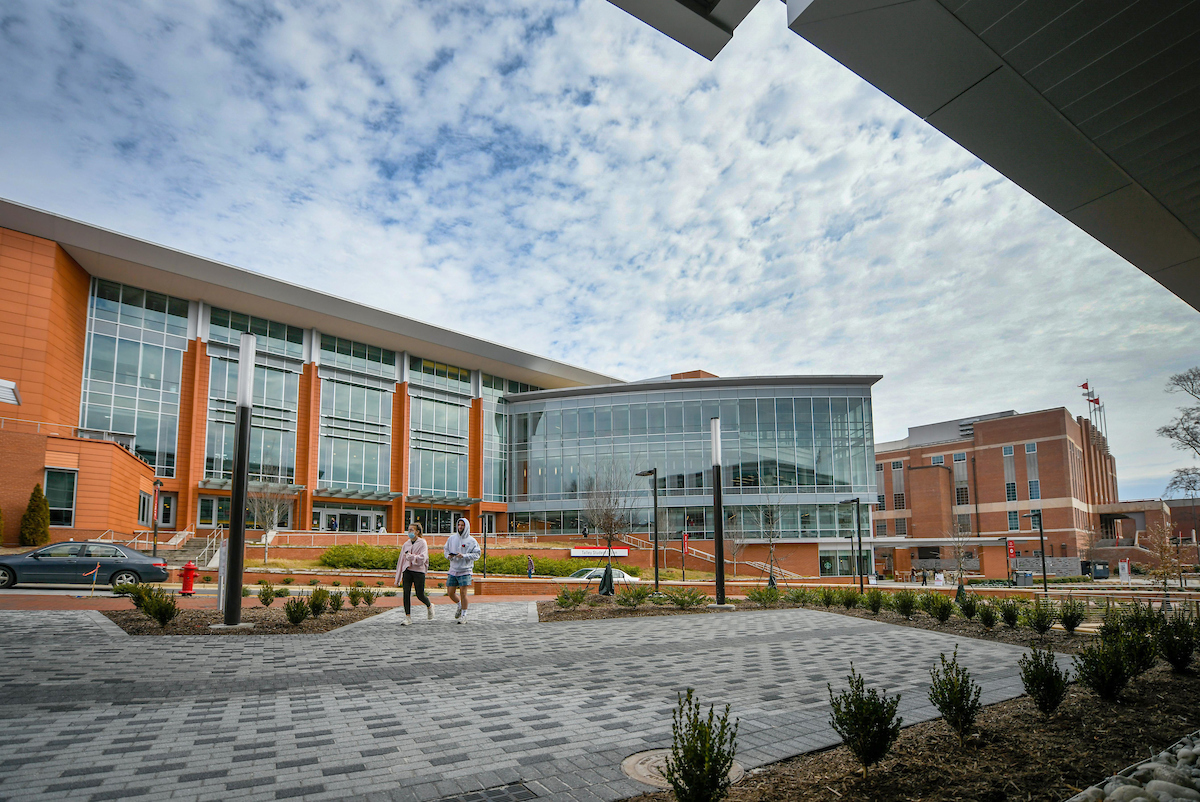 Students walk from the Talley Student Center to the Wellness and Recreation Center directly across the street
