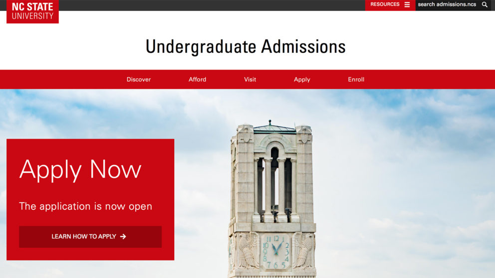 NC State Admissions website