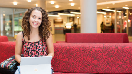 Student studying in Talley Student Union at NC State