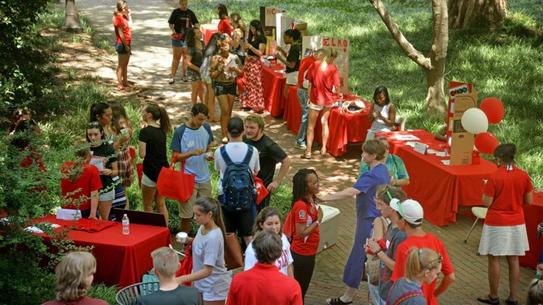 College of Education's Wolfpack Welcome Week celebration outside Poe Hall