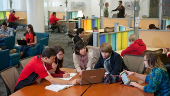 Students use the Hunt Library.