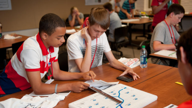 Students studying at Engineering Camp
