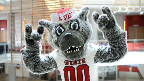Mr. Wuf in Talley Student Union